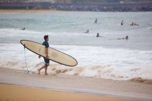surfer entering
